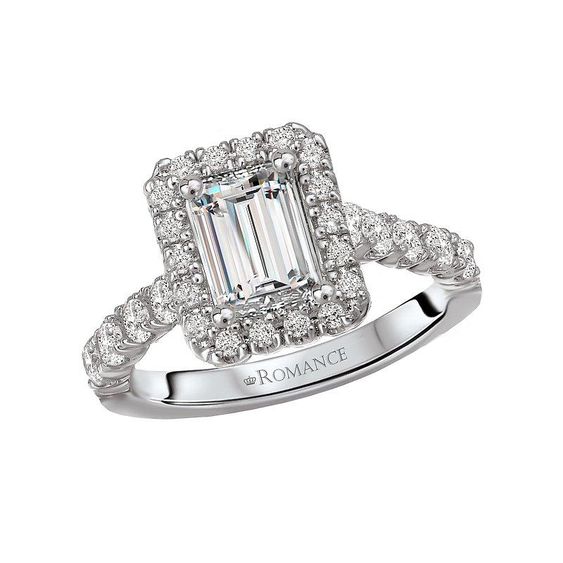 , Emerald Style Halo Engagement Ring