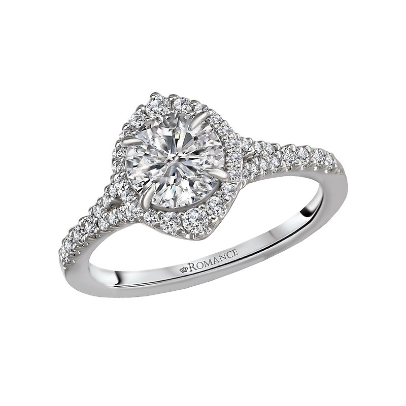 , Brilliant Round Cut Engagement Ring w/ Marquis Shape Halo