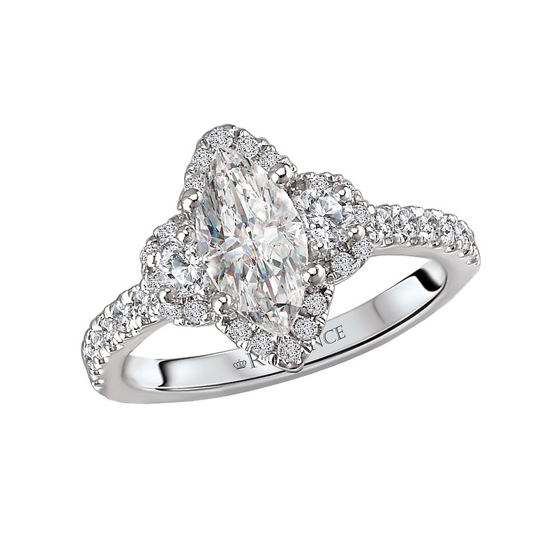 , Marquis Thee Stone Halo Engagement Ring w/ Brilliant Round Sides