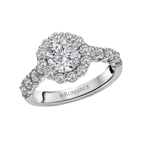 , Brilliant Round Cut Halo Engagement Ring w/ Large Accent Diamonds