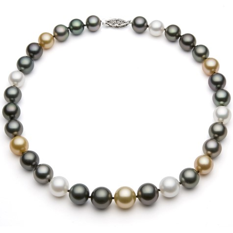 , Multicolor Tahitian and South Sea Pearl Necklace