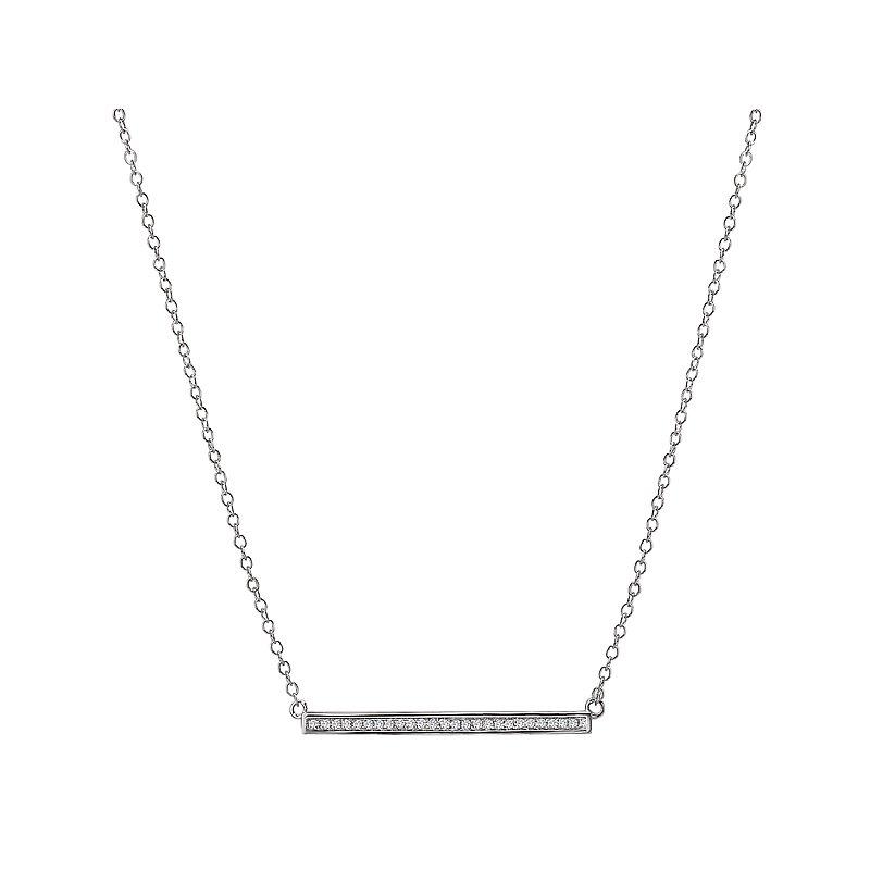 , 14K White Gold Diamond Bar Necklace