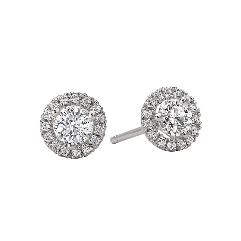 , 14K White Gold Diamond Stud Earrings with Halo