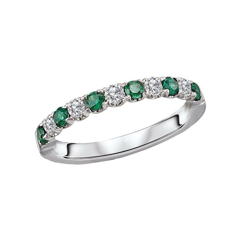 , 14K White Gold Emerald and Diamond Band