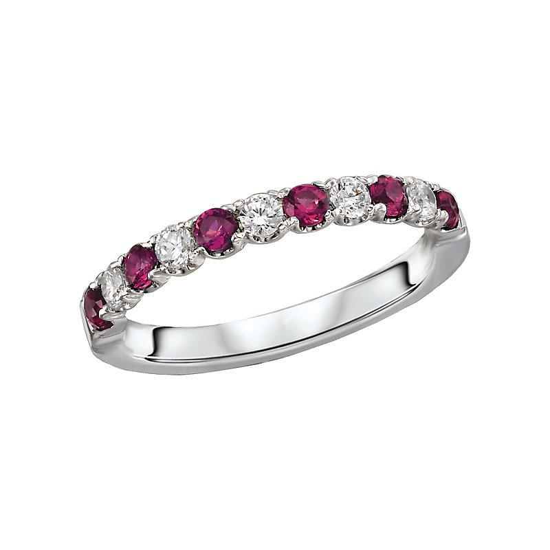 , 14K White Gold Ruby and Diamond Band