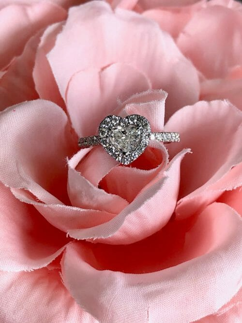 custom ring set in a beautiful pink flower
